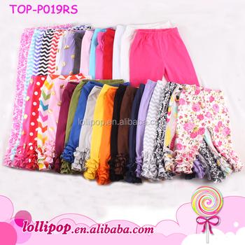 ab9cb9b66062b Wholesale boutique girls triple ruffle leggings kids tight ruffle pants  solid color baby ruffle icing pants