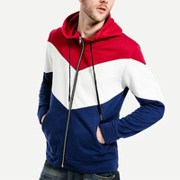 Men Cut And Sew Panel Color Block Zip Up Windbreaker Hooded Jackets for men Custom