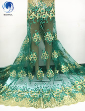 Beautifical African Lace With Gold Sequins,Embroidery Textile Lace Fabric,African French Lace Fabric High Quality