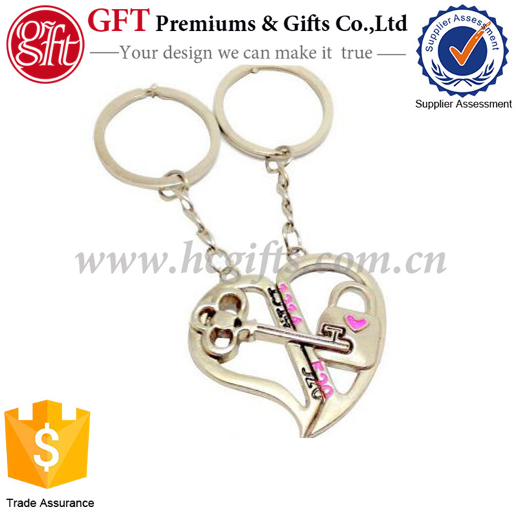 2016 Top New Lovely Heart Shape <strong>Key</strong> & Lock Couple <strong>Key</strong> chains GFT-SK0282