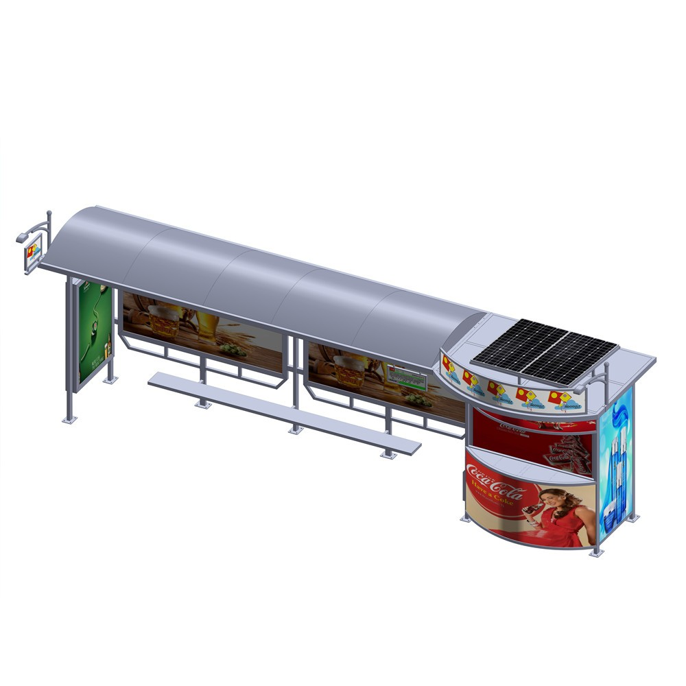 product-YEROO-2020 Customized Advertising Bus Stop Solar Energy Bus Shelter-img-5