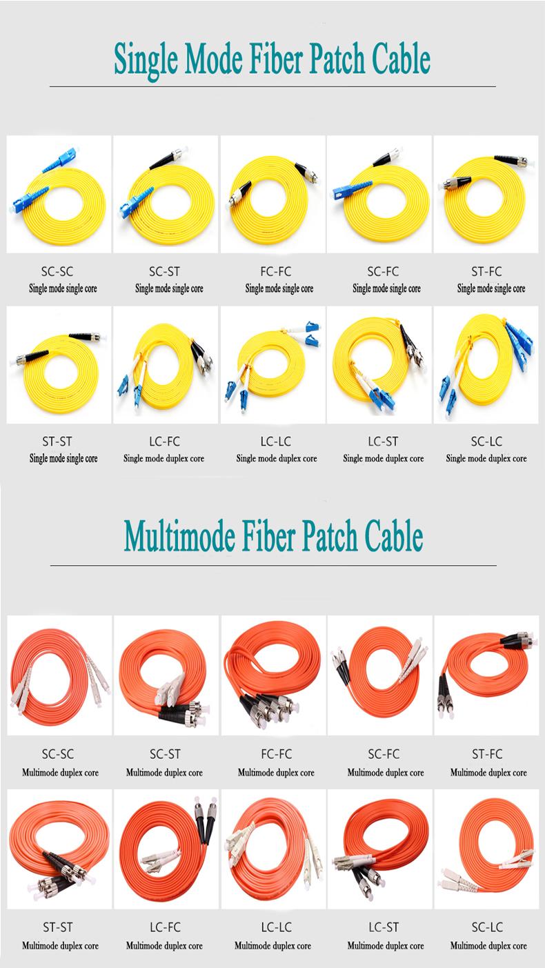 LC SC FC MU MTP MPO MTRJ E2000 om3 om4 cable de conexión de fibra óptica