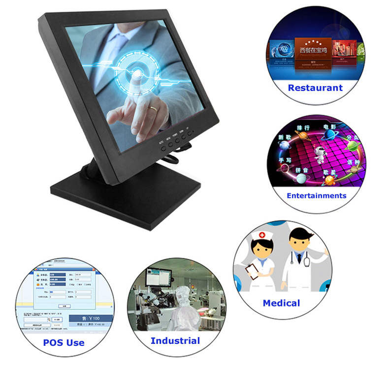 5 Wire Resistive 12 inch Touch Screen Monitor POS Display for Linux Windows OS