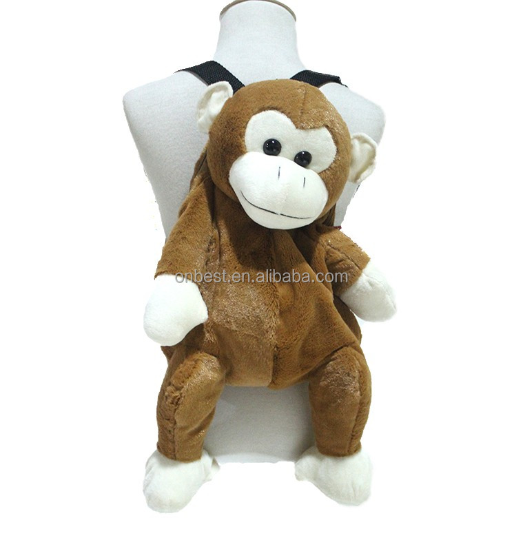 2017 hot sale kids animal plush backpack monkey backpack with stuffy