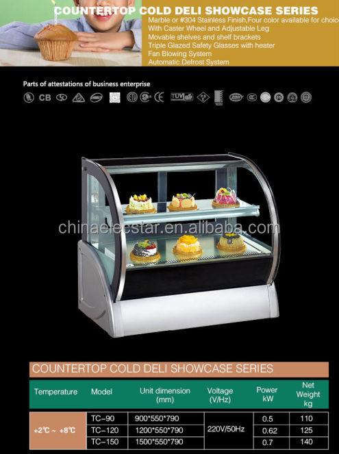 Compact Design Cake Display Fridge Curved Glass Display