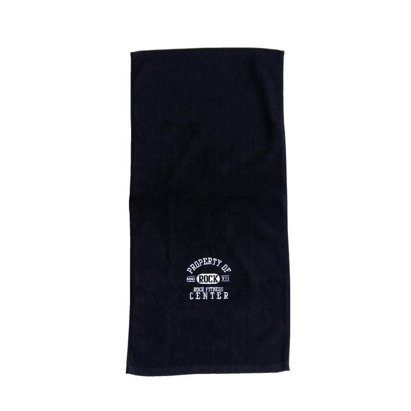 Serviette de Sport noire brodée Logo personnalisé 100 coton
