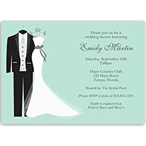 Bridal Shower Invitations Dress Tux Mint Green Wedding 10
