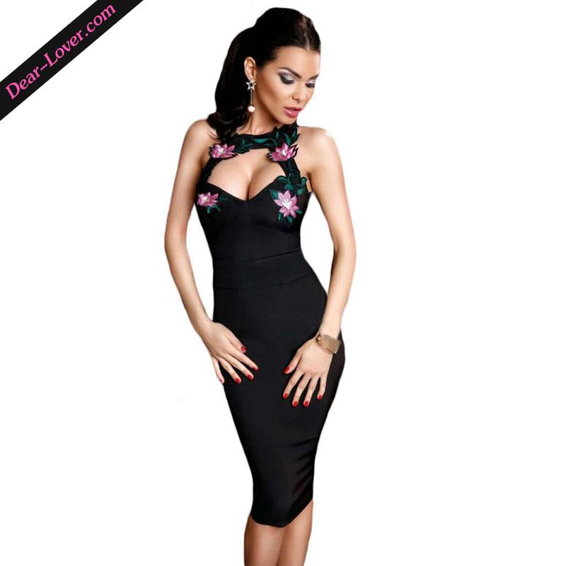 New Hot Flowery Embroidery Black Sleeveless Sexy Dress Club Factory