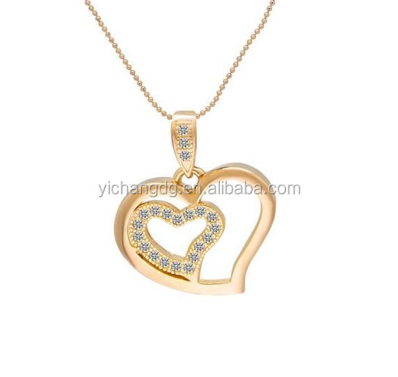 Princess Double Heart-Shaped Love Symbols 18k Rose Gold Plated Pendant Necklace