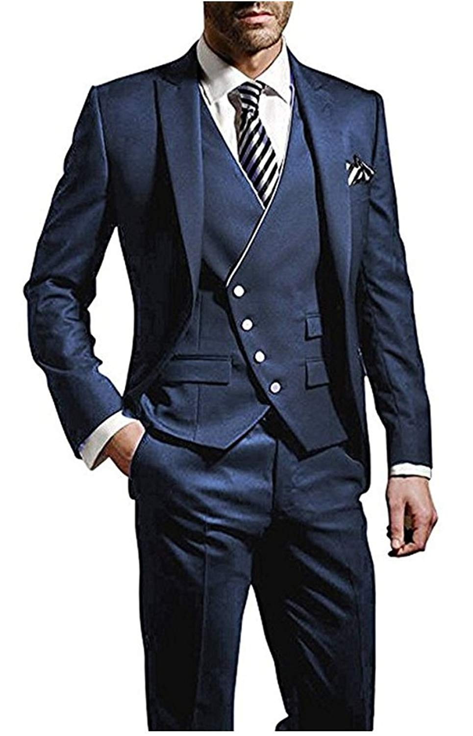 Suxiaoxi Mens Modern 3 Pieces Groomsman Suits Tuxedo Business Suits