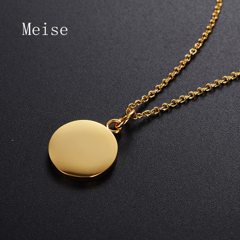 Yiwu Meise Personalized round shaped blank necklace gold stainless steel tag name pendant