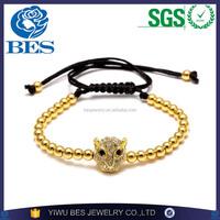 Factory Wholesale Premier Jewelry Handmade Knitted Leopard Head Copper Bead Bracelet Men Bracelet