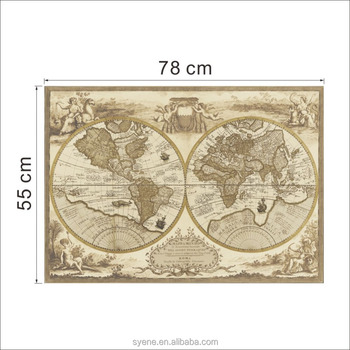 new custom large vintage world map wall stickers decal home decoration antique poster wall chart retro