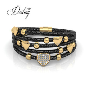 Destiny Jewellery new fashion Leather Love Bracelet for girl 18K gold plating Embellished with crystals from Swarovski