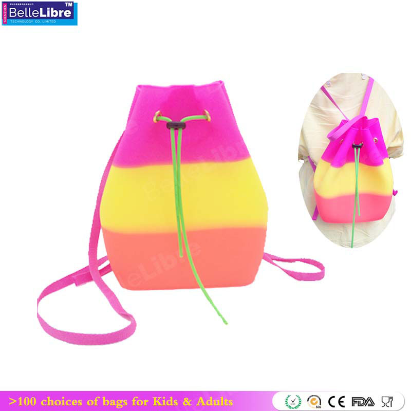 2017 Hot Selling Fashion Candy Color Silicone Backpack <strong>Shoulder</strong> Bag for kids or Students
