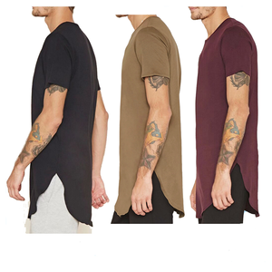 Curved-hem Longline Tee for man short sleeve 100% cotton men's tall tee sporty t-shirts