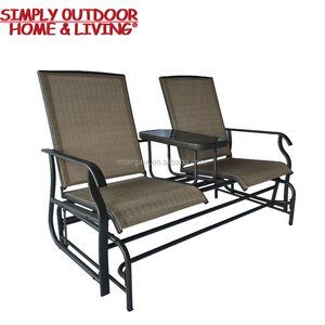 2017 New Camping Furniture 2 Seats Lover Settee Double Beach Chair with Glass Tea Table