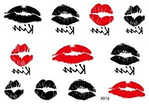 SPESTYLE waterproof non toxic fashionable and beautiful tattoos stickers sexy and sweet kiss, red lips and black lips temporary tattoos stickers