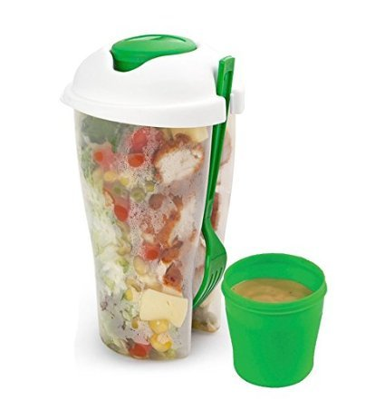 Salad to Go Serving Cup Shaker with Dressing Container and Fork. No More Tasteless or Soggy Salads. Conveniently Store Parfect Salad Portions and Travel with Fork and Dressing. Keep Your Salads / Fruit and Veggies Fresh, Cool and Crisp When You Travel to Work, School and Picnics. Great Gift for the