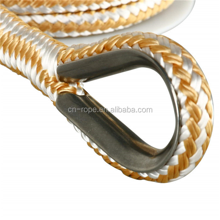 Top quality customized package all kinds of size double braided nylon/polyester marine rope  anchor line