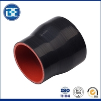 quick coupling flexible reducer silicone hose black and red