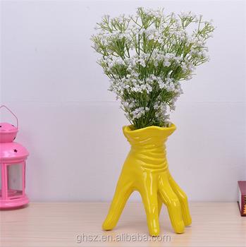 Alibaba & Customized Creative Yellow Lacquer Resin Gloves Mini Flower Vase - Buy Mini Flower VaseYellow Lacquer Resin Gloves Mini Flower VaseCustomized ...