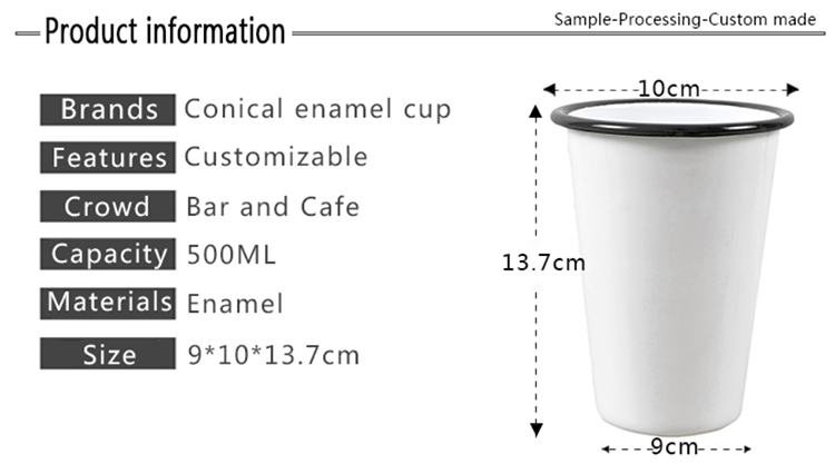 Esmaltes-taza blanco-negro email Western vaso taza de camping exterior taza de café