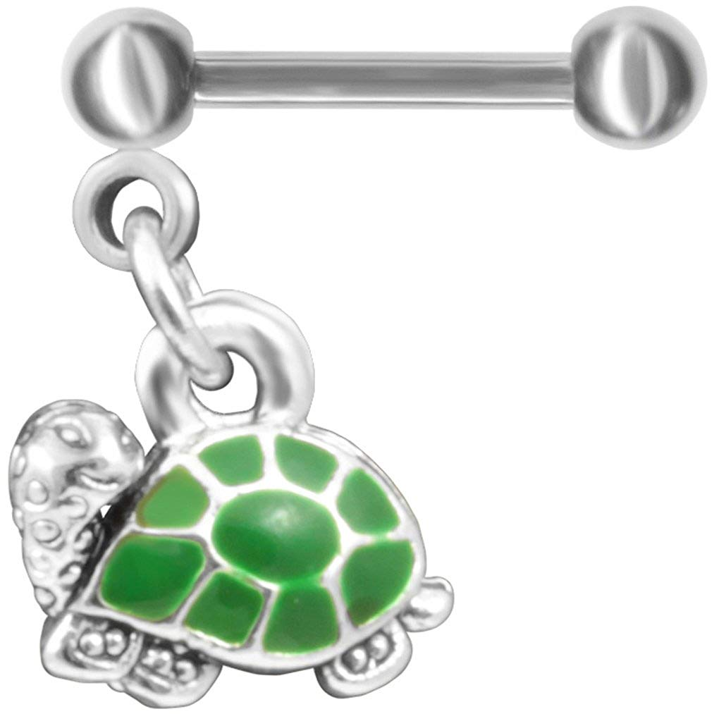 Green Turtle Cartilage Earring Straight Barbell-18g-16g-14g-12g-Dangle Lobe-Tragus Earring Piercing Jewelry 316L ASTM F-138 Implant Grade Stainless Steel Body Jewellery Hoop