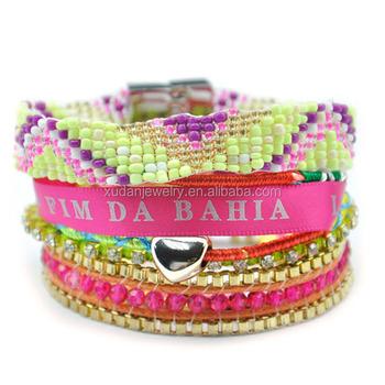 Multilayer Wrap Bracelets For Women Brazilian Magnetic Clasp Bracelet Ribbon Rope Beaded Boho Ethnic