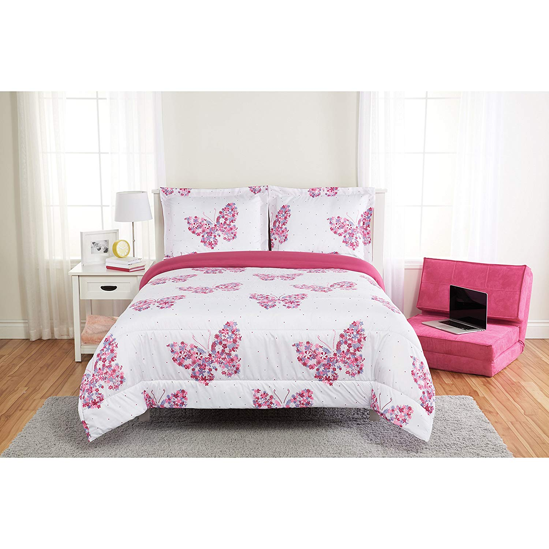 Unkk 2 Piece Girls White Purple Pink Floral Butterfly Themed Comforter Twin