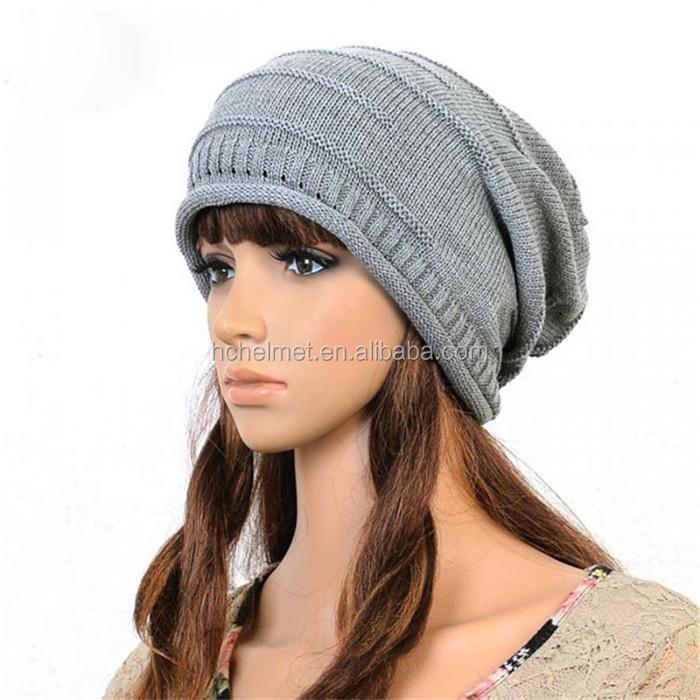 Otoño   invierno sombrero para las mujeres de punto slouchy beanie de  España gorros para mujer 66d5320d448