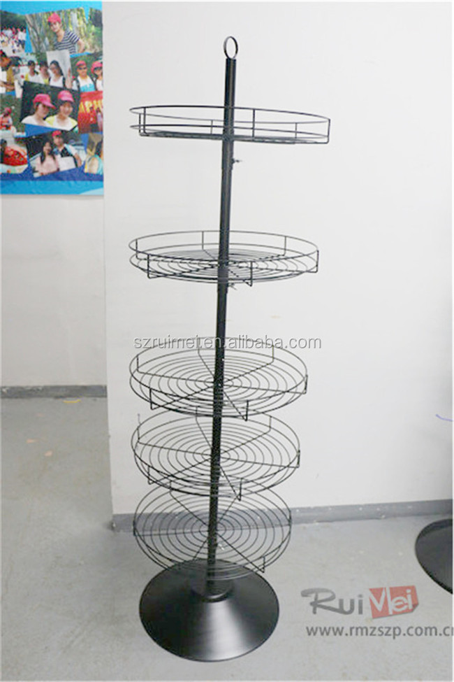 Flooring 5-tier rotating metal wire round basket toy display rack