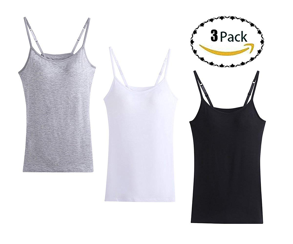 4aedeaace70f33 Oulinect Women s Cami Camisole Built-In Bra Adjustable Spaghetti Strap Tank  Top Padded Cami Tanks Packs