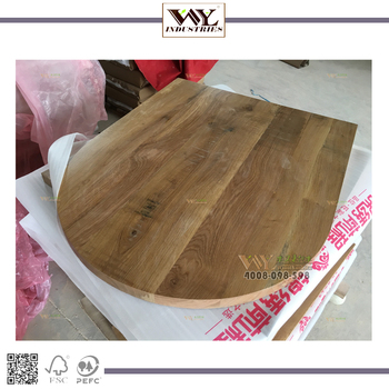 1 End Semi Circle 0ak Dinner Table Top With Antique Saw Mark