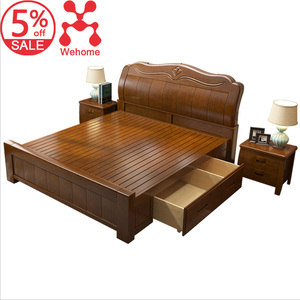 Completely Solid Wood Carved Bed With Drawer Storage Scandinavian Real OAK Box Bed Double Modular Bedroom Furniture Wooden