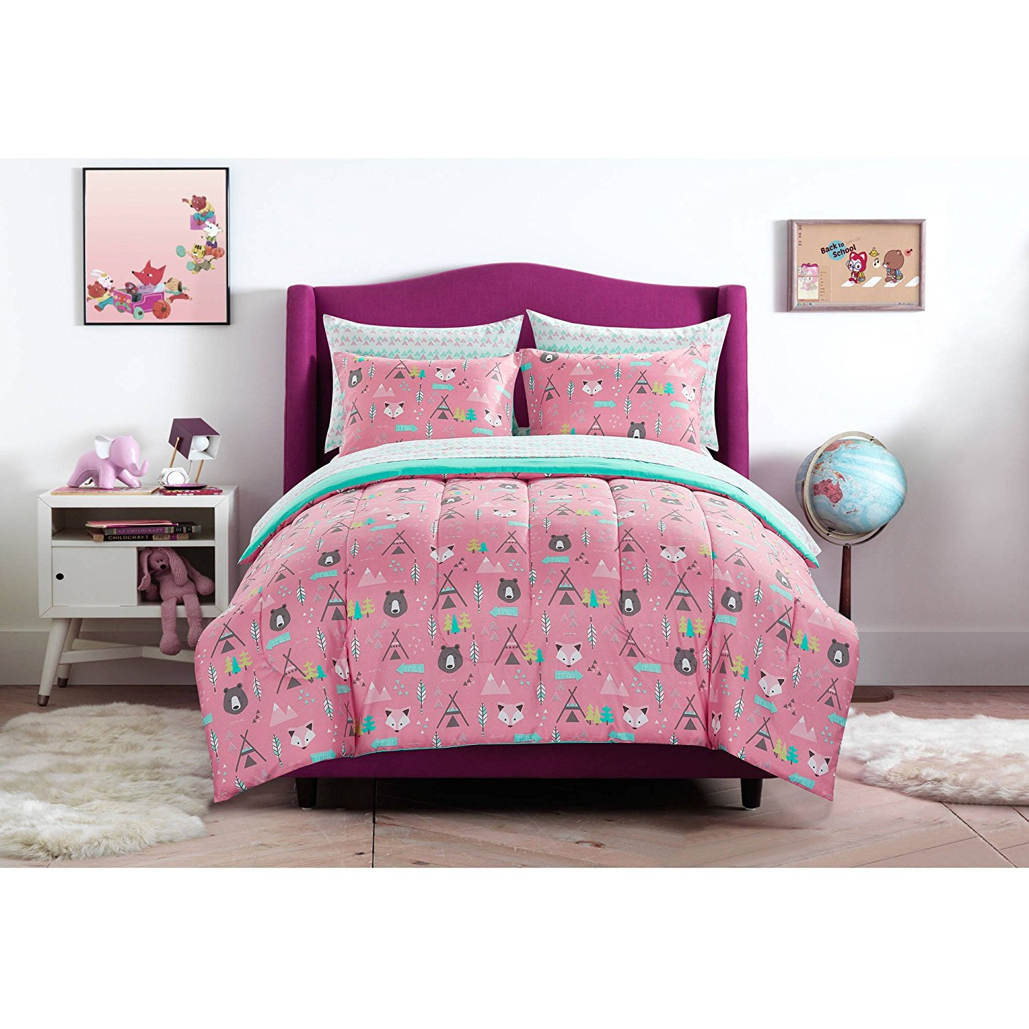 Get Quotations Mainstays Kids Pink And Turquoise Geometric Woodland Safari Forest Animals Bedding Full Comforter For S