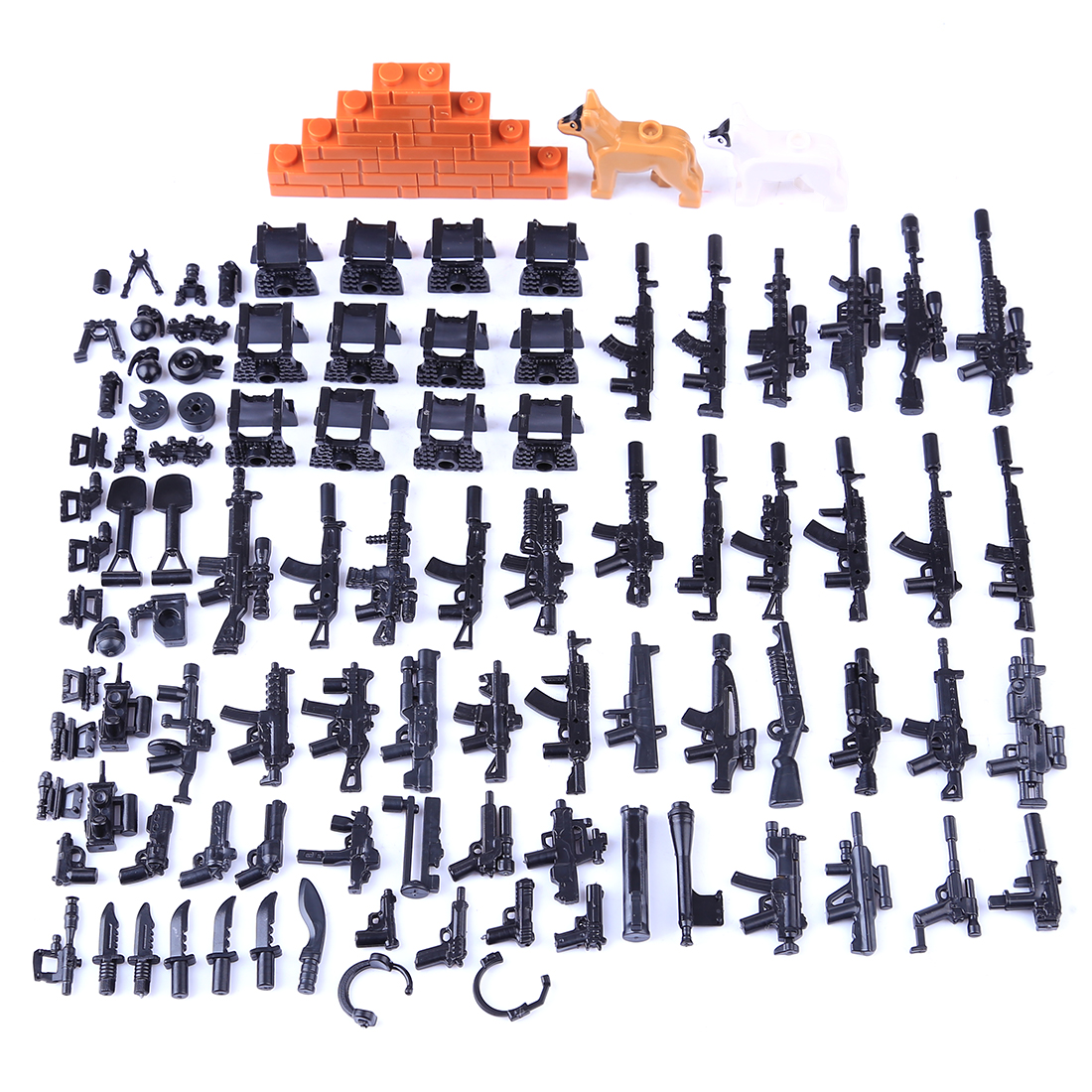 DIY Small Particle Building Block Military Weapon Accessories Toy Set for Children - Modern Special Forces