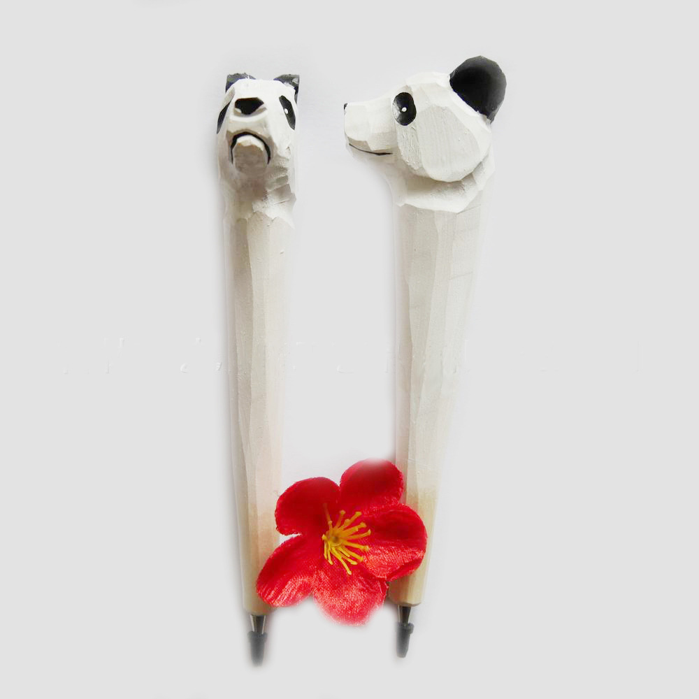 Wholesale Hand -made Environment Friendly Wood Carving Ball-point Pen with Animal shape