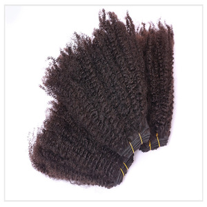 On Line Peruvian Afro Kinky Curly Wave 8-28 Inch Remy Human Hair Bundles With frontal