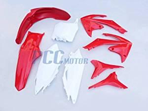 2.5L RED PLASTIC KIT CRF250R CRF450R FENDER SHROUDS NUMBER PLATES 9PCS PS67