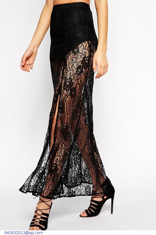 Sexy Black Floral Lace Sheer Maxi Skirt 2015 Summer Maxi Long Tutu Skirt Women saias femininas american apparel faldas largas