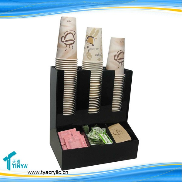 2016 Hot 3W*2D Countertop Coffee Cup Organizer Lid Holder Condiment Display,Acrylic Paper Coffee Cups Dispenser Holder Wholesale