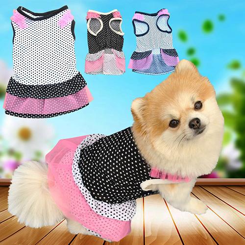 Мода Щенок Собак Pet Принцесса Красивая Точка Пряжи Упругой Юбка Платье Одежда