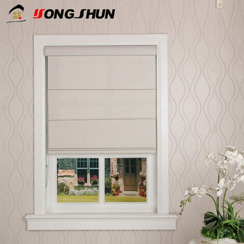 New design OEM manual chain blackout roller window blind plain fabric roman shades
