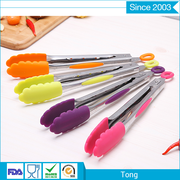 Stainless steel handle silicone tongs for bbq