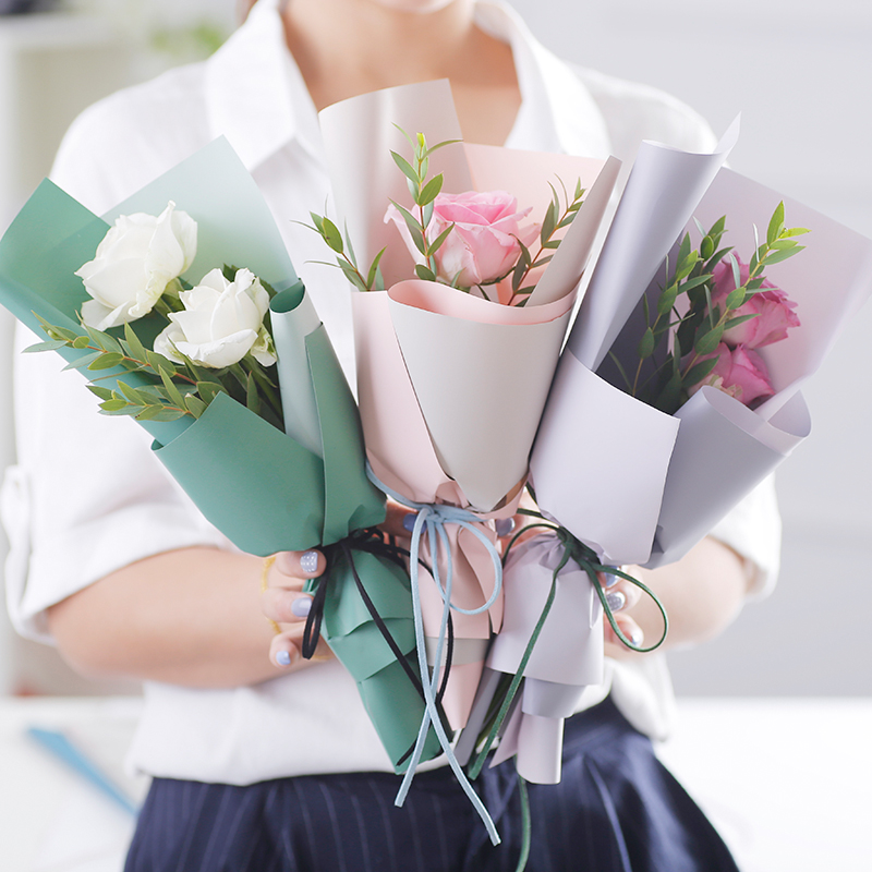 2 tone colors two sides waterproof wrapper Korean style Mini bouquet flower <strong>paper</strong>