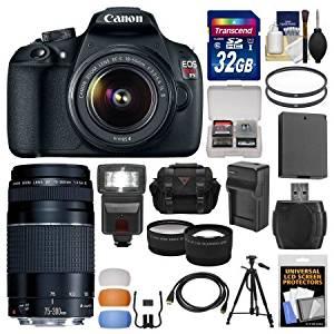Canon EOS Rebel T5 Digital SLR Camera Body & EF-S 18-55mm IS II with 75-300mm III Lens + 32GB Card + Case + Flash + Battery + Tripod + Kit /Model:9126B003-81284-Kit