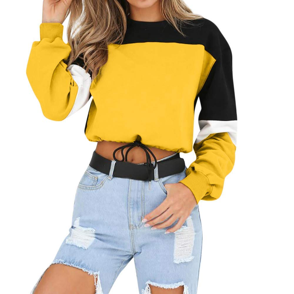 Gobling Womens Long Sleeve Splcing Color Sweatshirt Pullover Tops Blouse (Color : Yellow, Size : S)