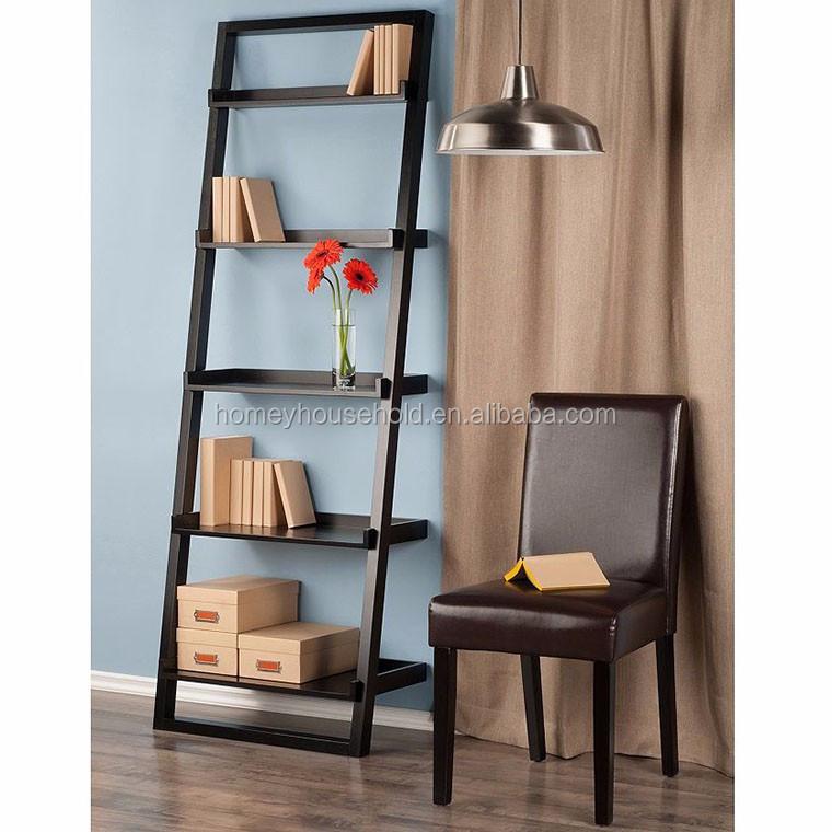 zwart geschilderd vouwen mdf houten opslag 5 tier boek plank