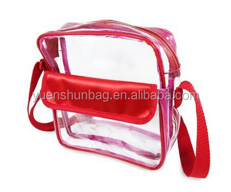 Approved Clear Messenger Bag pvc Transparent bag ladies Purse with Adjustable Strap